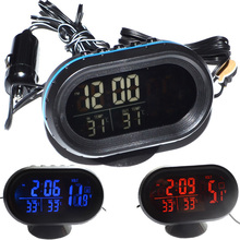 DC 12V~24V LED Lighted Digital Car Clock Thermometer Auto Dual Temperature Gauge Voltmeter Voltage Tester Free Shipping 12001885(China)