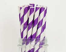 Free Shipping 100pcs Stripe Paper Straws Vibrant Purple White,Paper Drinking Straws For Wedding Party Birthday Decoration(China)