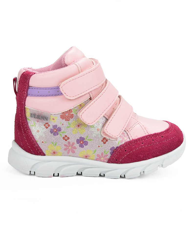 ULKNN Girls Sneakers Kids Shoes Girls Running Shoes Floral Print Breathable Genuine Leather Soft sapatos infantil Pink Size 20-25 (5)