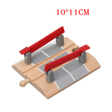 Wooden Train Slot Track Railway Accessories Railroad Crossing Intersection Bridge Wooden Track Toys bloques de construccion