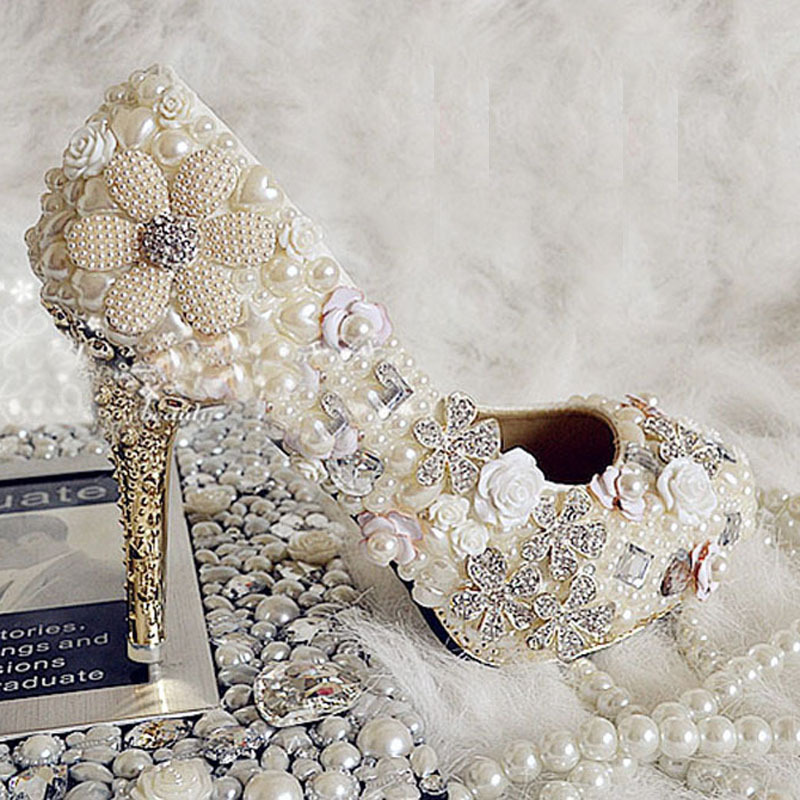 Elegant Wedding Shoes Rhinestone Imitation Pearl Bridal Shoes 10cm High Heel Honeymoon Shoes Banquet Evening Party Prom Shoe<br><br>Aliexpress
