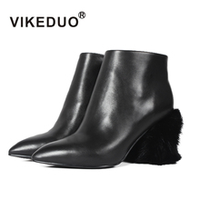 VIKEDUO Fashion Style Novelty Fur Zipper Thin Heels High Heels Shoes Lady Genuine Leather Pointed Toe Black Pumps Woman Shoes(China)