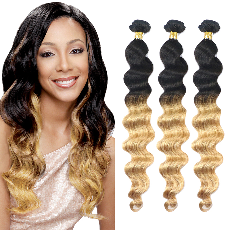 Ombre T1B 27 Brazilian Loose Wave Virgin Hair Extensions 3 Bundles Two Tone Dark Root Human Hair Weave Loose Tissage Bresilienne<br><br>Aliexpress