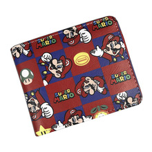 Lovely Cartoon Wallets Games Super Mario World Printed Purse Fashionable Gift Kids Boy Girl Card Money Bags Leather Short Wallet