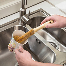 Cleaning Brushes Natural Coconut Palm Elbow Wood Handle For Glass Milk Bottles Hanging Kitchen Cup Cleaner Brush Free shipping