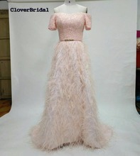 CloverBridal high quality pink short sleeves luxury feathers wedding dress off-the-shoulder A-line sweep train robe de mariee(China)