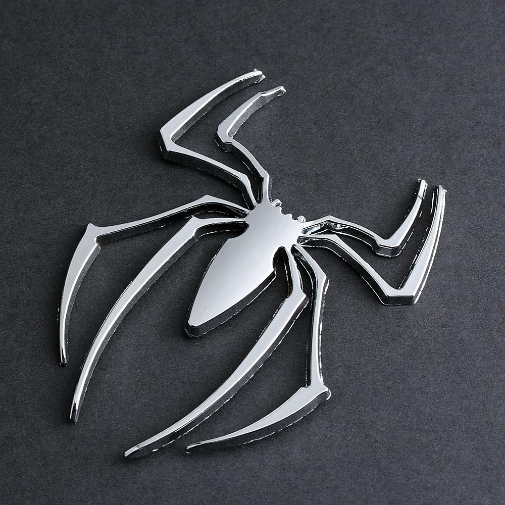 Silver-Spider Car 3D Logo Metal Chrome Emblem Badge Sticker Silver Color 2Pcs