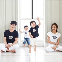 New 2017 Family Sets Father Mother Child Summer Fashion Matching T-Shirts Dad Son Girl Cotton Stripe Short Sleeve Letters Tshirt