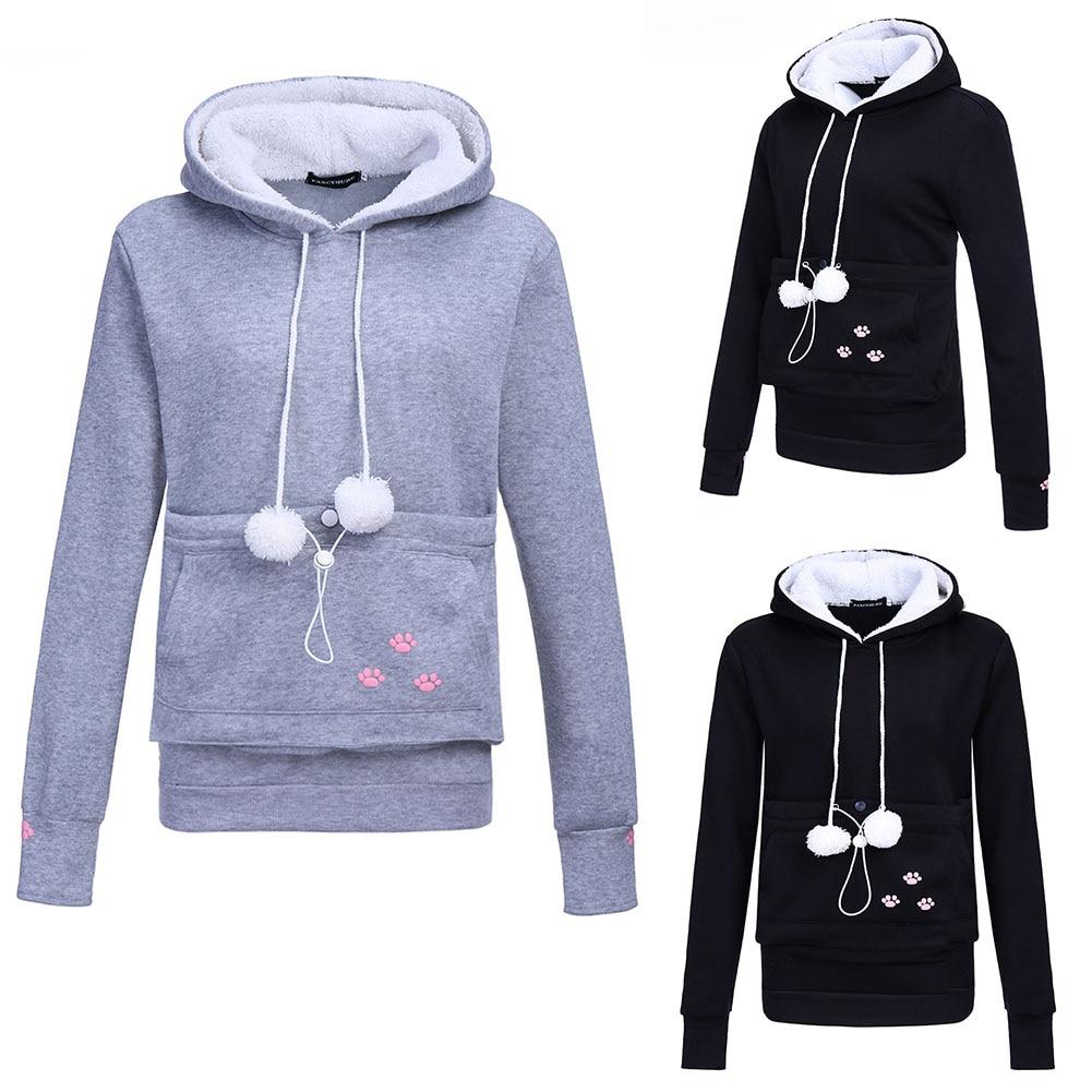 17 New Cartoon Hooded Hoodies Lover Cats Kangaroo Dog Hoodie Long Sleeve Sweatshirt Front Pocket Casual Animal Ear Hoodie 49