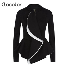 Clocolor women jacket coat l2017 spring Black Tops girls O Neck  zipper work wear Long Sleeve peplum Women jacket