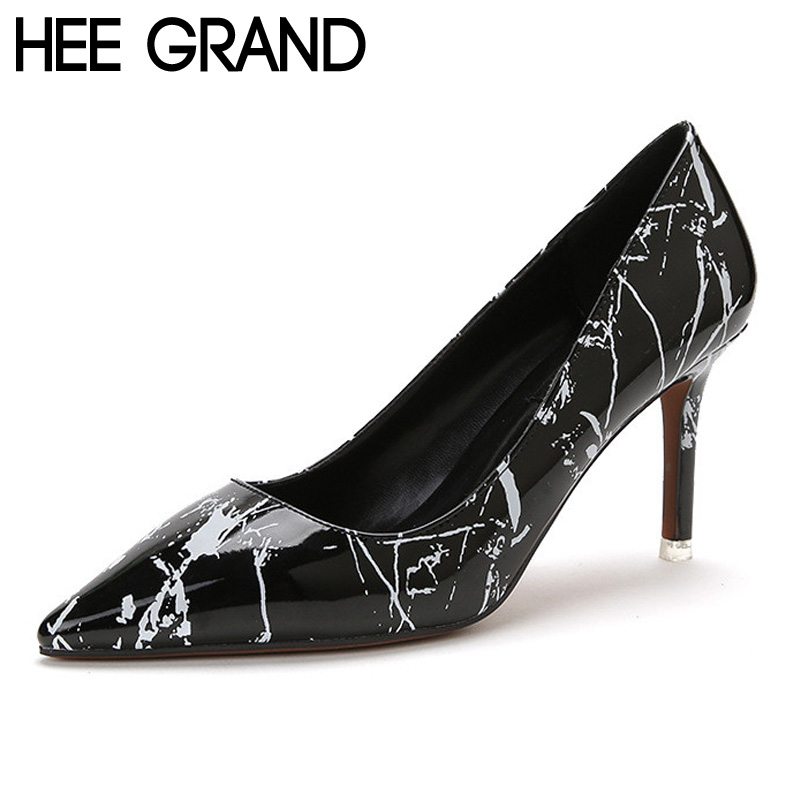 HEE GRAND Woman Pumps Slip on OL Fashion Ink Painting Dress Thin High Heel Spring Autumn Black White Pumps Size 34-39 WXG325<br><br>Aliexpress