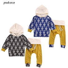 2017 Hot Fashion 2pcs Newborn Toddler Infant Baby Boy Girl Outfit Clothes Babies Hooded Tops+Pants Outfits Set Clothing(China)
