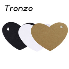 Tronzo 6.5*5cm 50pcs Heart Shape Kraft Paper Tag Gift Box Tags Wedding Party Favor Hang Labels DIY Craft Supplies Gift Wrapping