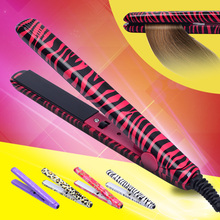 Free Shipping New Professional Hairstyling Mini Portable Ceramic Flat Zebra Hair Straightener Irons Styling Tools Waves Irons(China)