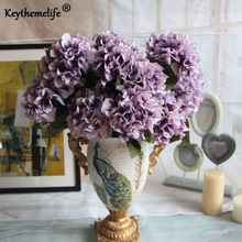 Keythemelife Artificial Flowers 7 heads hydrangea Europe classic fake Adornment photography props Garden room home Decor FA(China)