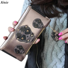 2017 new women luxury bags designers Wallet Punk Skull Print Card Holder Womens Boutique High-grade leather Wallet(China)