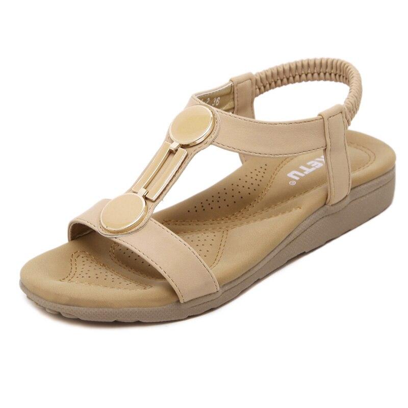 2017 summer new womens sandals casual comfortable flat-bottomed women sandals large size non-slip soft sand beach sandals 35 40<br><br>Aliexpress