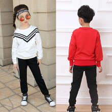 Middle and Primary School Girls Long Sleeved Sports Navy Striped Suit Kids 2 Pieces Clothing Sets Red White Cotton Clothes CC411