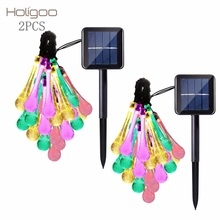 Holigoo Christmas Solar String Lights Outdoor 30 Water Drop LED 6M Christmas Lights for Garden Wedding Party Holiday Decoration(China)