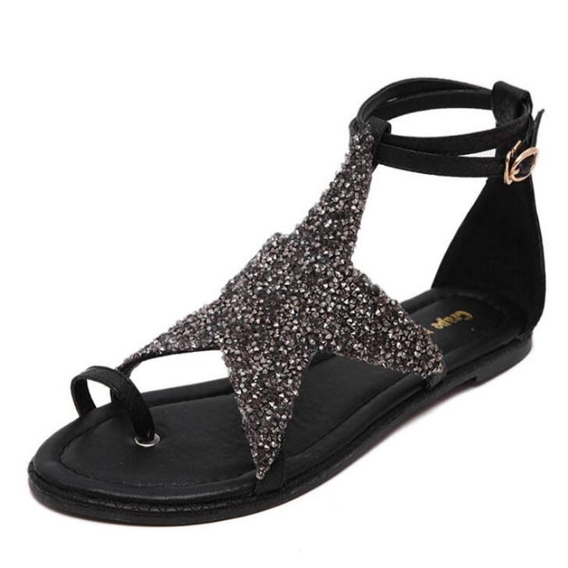 Roman Sandals Shoes Starfish Rhinestones Ankle Buckle Summer Flat Sandals Black Women Casual Sandals Plus Size 35-45<br><br>Aliexpress