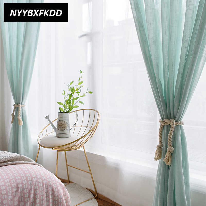 Nordic Style Green Linen Tulle Curtains Window Voile Curtain For Living Room Bedroom Modern Home Decor Solid Color