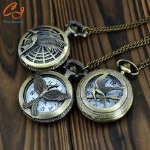 Popular manufacturers selling vintage necklace blue large hunger game bronze bird of white pocket watch wholesale