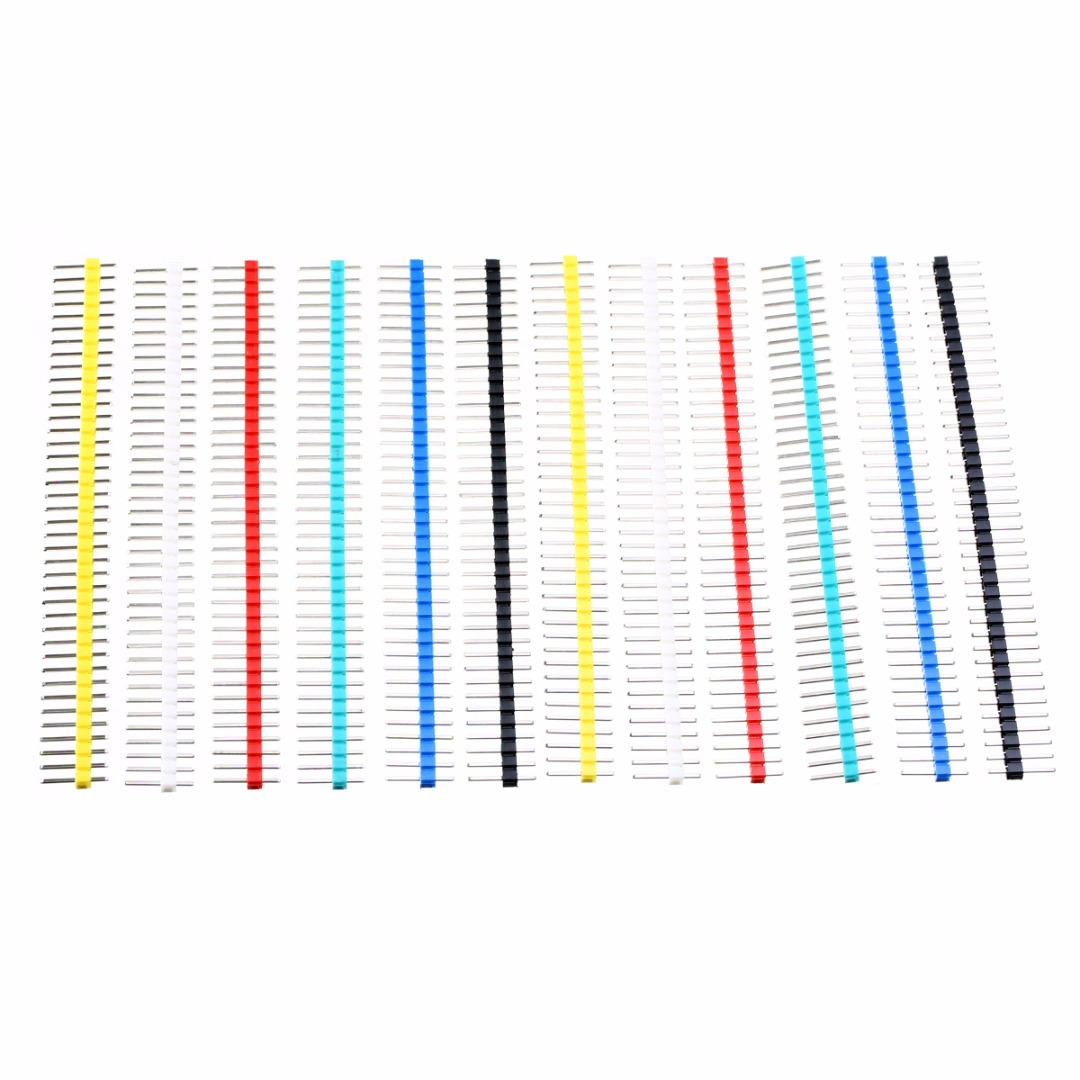 12pcs Pin Connector Male 2.54mm Pitch Pin Header Strip Single Row 40 Pin Connector Kit for PCB 6 Colors