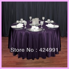 "Factory Direct Sale 10pcs #82 Plum 120"" Round Satin Table Cloth ,Satin Table Cloth For Wedding Event Decoration(China)"