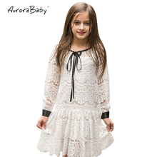 AuroraBaby Girls Lace Dresses For Autumn Summer Children's Clothes Kids Long Sleeved Princess Style Holiday Party Wedding Dress(China)