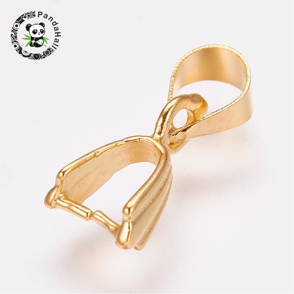 100pcs Brass Ice Pick Pinch Bail Silver 15x5mmm Finding Charm Pendant Holder DIY