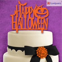 LumiParty Happy Halloween with Pumpkin Creative Acrylic Monogram Cake Toppers for Halloween Party Cake Decoration Orange -40