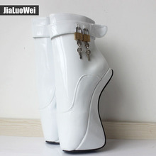 "Women Fashion Sexy fetish Exotic Extreme 18cm/7"" High Heel Buckle Stiletto strange Hoof Heelless padlocks Ankle Ballet boots(China)"