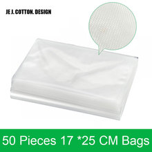New arrival 50 pieces/lot 17*25CM Bags for Vacuum Sealer Packing Machine 17x25 CM Vacuum Packer Bag for Food Veins Wrapper(China)