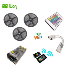RiRi won LED Strip 15m 5050 60leds/m RGB 20 no Waterproof strip light 24k wifi remote controller 12V 10A power supply addaper