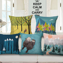 wholesale decorative Cushion Cover wedding gift Simple Winter Forest Coniferous Forest Animals Home car Sofa decor pillow case