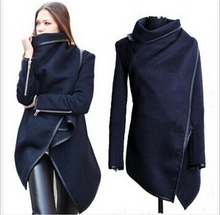 Newest 2016 Women Coat autumn Winter Woolen Long Sleeve Overcoat Fashion Trench Woolen Coat Casacos Femininos S-XXXL