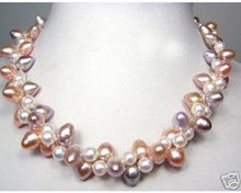 Beautiful pink white purple freshwater pearl necklace 17""