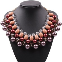 Chinese Product Factory Direct Sale High Quality Statement Elegant Jewellery Colourful Cheap Fake Pearl Necklaces For Female(China)