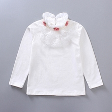 2T to 6T kids girls white pink turtleneck lace layered flower princess long sleeve fall winter t shirts cotton casual t-shirt(China)