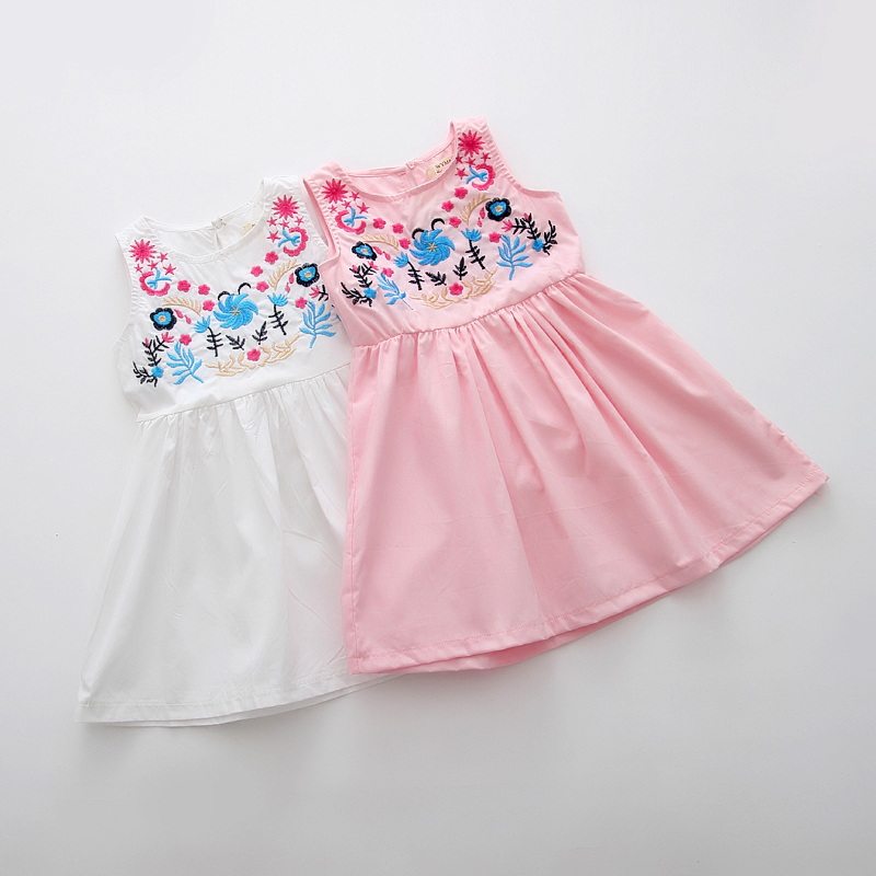 Tang suit girls dress for 4-8 years old baby clothes cotton 2017 summer new princess style flower fashion cheap white and pink(China (Mainland))