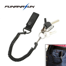 Anti-lost Flashlight Lanyard Rope Elastic Black Spring Keychain Flashlight Safety Belt Molle Strap for Outdoor Traving Hiking