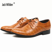 Jack Willden Mens leather shoes Men's Dress Flats Imitation alligator Man Casual shoes Wedding Party Business Shoe Lace-Up shoes(China)