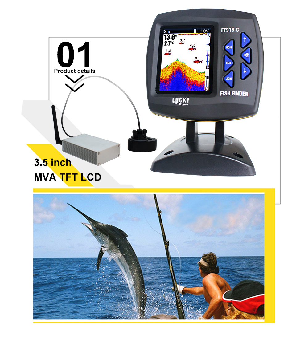 Fish Finder Lucky FF918-CWLS 3.5 LCD Boat Fish Finder wireless Underwater Detector Camera For fishing operating range 300m Depth Range 100M (2)