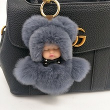 Cute Fluffy Real Rabbit Fur Pompom Sleeping Baby Key Chain Women Rex Bunny Fur Doll Keychain Car Keyring Toy New Year Gift(China)