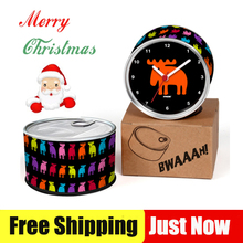 Free Shipping Christmas Deer 2pcs/lot Colourful Deers Moz Kitchen Fridge Magnets Aluminum Can Wall Clocks,Metal Tin Desk Clocks