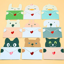 (90 pieces/lot)Free Shipping Cartoon Animal Head Message Card with Envelope Thank You Card Birthday Greeting Card Wholesale