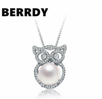 Real Freshwater Natural Pearl Pendant Necklace Beautiful Grace Pearl OWL Jewelry Women Accessory(China (Mainland))