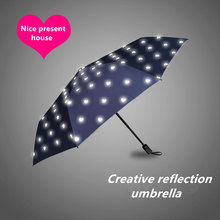 2017 New Fashional light reflecting folding super large creative umbrella with advanced technology ensure your safety in rainy(China)