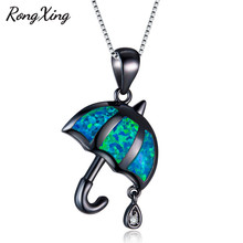 RongXing Blue Fire Opal Umbrella Pendants Necklaces For Women Vintage Black Gold Filled Necklace Halloween Party Jewelry NL0130(China)