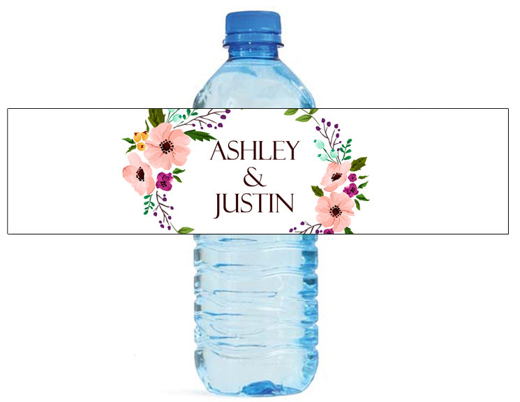 48x Personalized Water Bottle Labels Wedding Decorations Favors Gifts Tags Personalised Candy Stickers Customized(China)